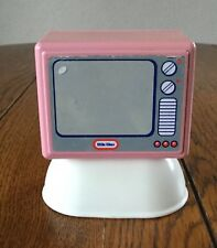 Vintage Little Tikes Dollhouse Furniture TV Console Television Pink Stand