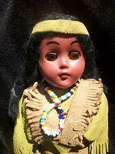Maiden & Papoose Doll Sleepy Eyes Swade Shoes Fringe Dress Vintage