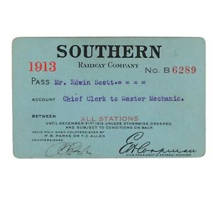 Southern Railway Pass issued to Railway Clerk, Master Mechanic 1913, Signed