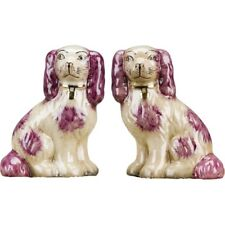 Staffordshire King Charles Red/Pink Spaniel Dog Pair Small Figurines
