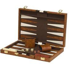 "15""x19"" Backgammon Set Brown White Faux Leather Portable Travel Folding Case NEW"