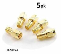 5-PACK RP-SMA (Reverse Polarity) Female to SMA Male Gold Adapter, RF-S105-5