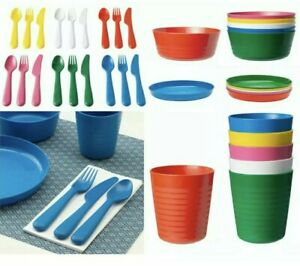 Ikea Kalas  Children Kids 36 piece dinnerware Plastic  Multi-Color   NEW