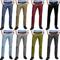 Mens Chino Jeans Stretch Skinny Slim Pants Skinny Trousers Bottoms Casual New