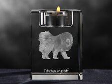 Tibetan Mastiff, crystal candlestick with dog, souvenir, Crystal Animals Usa