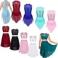 Girls' Ballet Dance Dress Sequined Leotard Tutu Skirt Lyrical Dancewear Costume