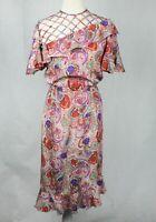 Norma Lenain Fits AU Size 10 Vintage Floral Print Short Bell Sleeve Asymmetric D