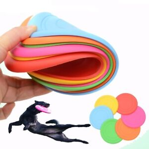 1psc Silicone Dog Flying Disc Funny Dog Toy for Outdoor Indoor Training Spin Fly