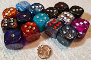 CHESSEX:  15 Opaque & Translucent 20mm 6-sided Dice (Pips)