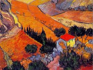 GOGH LANDSCAPE WITH HOUSE PLOUGHMAN 1889 ART PAINTING PRINT 12x16 inch 2840OM