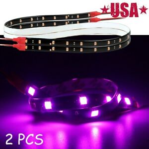 2PCS 60cm Purple 30 SMD Led Lamp String Waterproof Flexible Car Strip Light