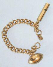 Vintage Whistle & Football Charm Gold Tone Bracelet ~ Mint Condition