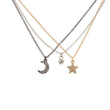 Crescent Moon Star Bff Best Frien Lux Accessories Pave Crystal Galaxy Tri Color