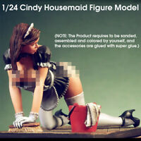 1/24 Scale Cindy Housemaid Figure Resin Static Model Kits Unpainted Unassembled