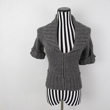 Laurie B Gray Wool Cashmere Blend Sweater Coat Cardigan Size M