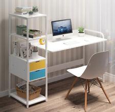 Home Office Computer Desk PC Workstation Laptop Table 4-Tier Bookshelf 2 Drawers