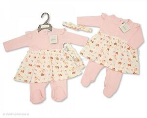 Baby Girls 100 % All in One with Headband Pink/Cream - Little Chick 0-3mths