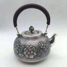 Healthy 990 Sterling Silver Art Full Handmade in Block Teapot , Peony Flower