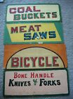 Four (4) Hand-Painted Country Store Clapboard Signs, Colorful, Double-Sided