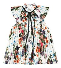 ERDEM x H&M White Pleated Floral Blouse Top with Contrast Ties, UK 10 EU 36 US 6