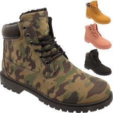 Womens Warm Winter Snow Ankle Fur Lined Army Ladies Boots Shoes UK 3 4 5 6 7 8