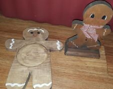 lot of 2 Christmas/Winter Decoration-Wooden Gingerbread Man