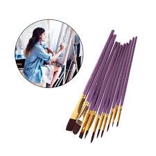 10Pcs Artist Paint Brush Set Nylon Hair Watercolor Acrylic Oil Painting Drawing