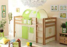 Hochbett Spielbett Kinderbett Etagenbett Buche natur mit Leiter Beige-Grün NEU