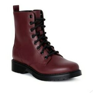 Burgundy Wine Faux Leather Lace Up Combat Boots Ankle Boots Size 8.5 NEW