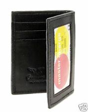 New Mens Bifold Leather ID Wallet Black Classic Card Holder Slim Thin Size 3x4