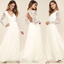 Langarm TOP Brautkleid Hochzeitskleid Spitze Kleid V Ausschnitt Abendkleid BC555