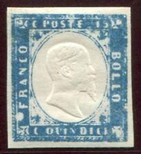 1861 Regno 15 cent. tipo Sardegna nuovo integro cobalto latteo spl ** MNH