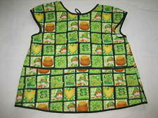 Hand Made Child's Smock Apron - St. Patrick's Day Print, Black Piping, 3 Pocket