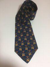 Salvatore Ferragamo 190 Monkey & Camel Navy Blue Neck Tie Italian Silk Excellent