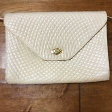 Bally Vintage Quilted Lambskin Crossbody Flap Bag Ivory Made In Italy