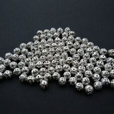 150 Filigree Silver Plated Metal Spacer Beads Round 6mm