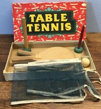 Vtg Table Tennis Ping Pong Set Milton Bradley 3 Paddles Net Original Box US Made