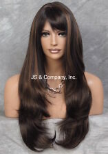 EXTRA LONG Straight Striking Brown Auburn Mix Wig WAMA  4-30