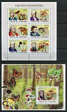 Comoros Comores 2008 MNH Mycologists 6v M/S 1v S/S Fungi Mushrooms Stamps