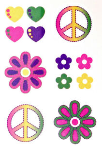 Hippy 60's cnd flower power Temporary Tattoos  MADE IN ENGLAND  TY0278