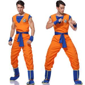 Men Dragon Ball Goku Cosplay Costume Unisex Halloween Party Shirt Pant Outfits
