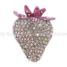 Gran Transparente Crystal Fresa Anillo Con Rosa tallo-Totalmente Ajustable # 230
