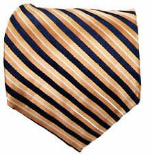 Nautica Silk Tie Orange and Navy Stripe with White Pin Stripe