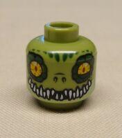 x1 NEW Lego Minifig Head Dual Sided Crocodile with Dark Green Eye Borders