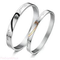 """Stainless Steel Lover's Heart """"Real Love"""" Men's Women's Couples Bracelet Bangle"""