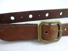 Vintage 1970s Unisex Brown Leather Brass Grommet Belt Boho Peasant Hippie