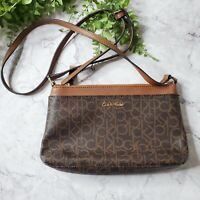Calvin Klein Brown Leather Top Zip Monogram CK Logo Medium Crossbody Handbag