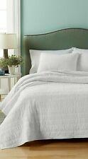 Martha Stewart Collection Twin Size Quilt White Cotton Eyelash Stripe NWT $200