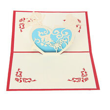 3D Love Heart Greeting Card Pop Up Paper Cut Postcard Birthday Valentines Gift