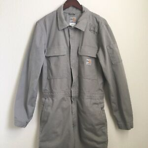 Carhartt Flame Resistant FR Traditional Twill Gray Coveralls Mens Sz 38 Tall
